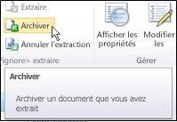 Ruban SharePoint avec pointage sur l'icône Archiver