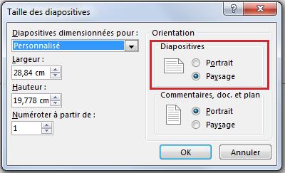 Dans la boîte de dialogue Taille des diapositives, vous pouvez changer l'orientation des diapositives sur Portrait ou Paysage.
