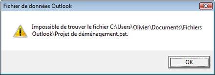 Boîte de dialogue Fichier de données Outlook (.pst) manquant