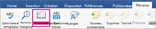 Sous l'onglet Révision, dictionnaire des synonymes sont mis en surbrillance.
