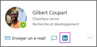 Affichage de l'icône de LinkedIn sur la carte de visite