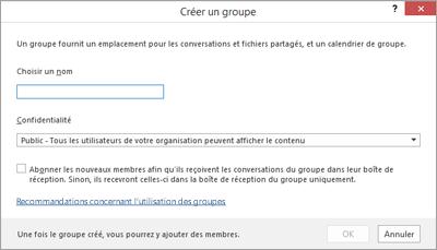 Créer un groupe avec le lien Recommandations concernant l'utilisation des groupes