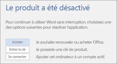 Capture d'écran du message d'erreur «Produit désactivé»