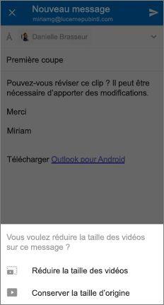 Message avec des options en bas pour réduire la taille de la vidéo ou conserver sa taille d'origine