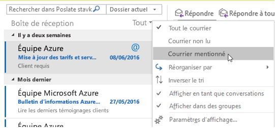 Menu affichant l'option Messages avec mentions