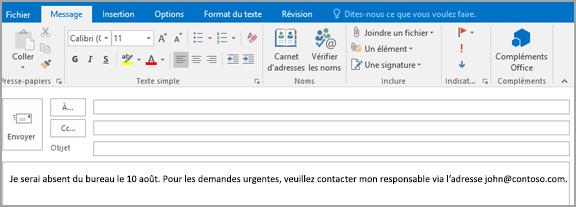 Envoyer des r ponses automatiques d absence du bureau dans outlook outlook - Exemple message absence bureau ...