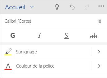 Capture d'écran du menu de mise en forme du texte dans Word Mobile