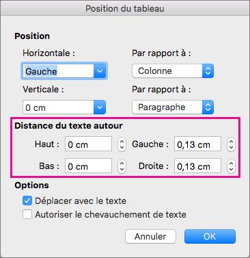 Sous la section Distance du texte autour, définissez des valeurs pour l'espace vide situé entre le tableau sélectionné et le corps de texte.