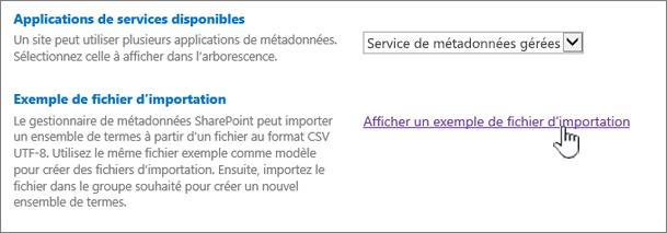 fichier d'importation exemple affichage