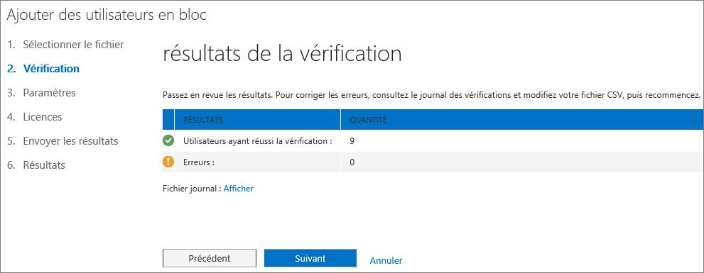Étape2 de l'Assistant Ajouter des utilisateurs en bloc - Vérification