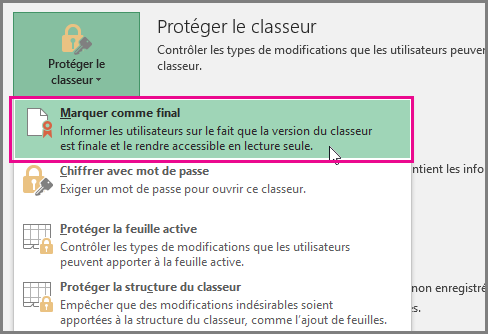 Office 2016 - Excel - Marquer comme final