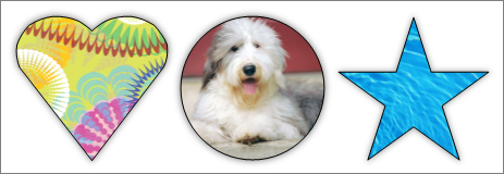 Capture d'écran d'un collage dans Publisher affichant les images avec différentes formes