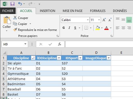 Développement d'un tableau dans Excel