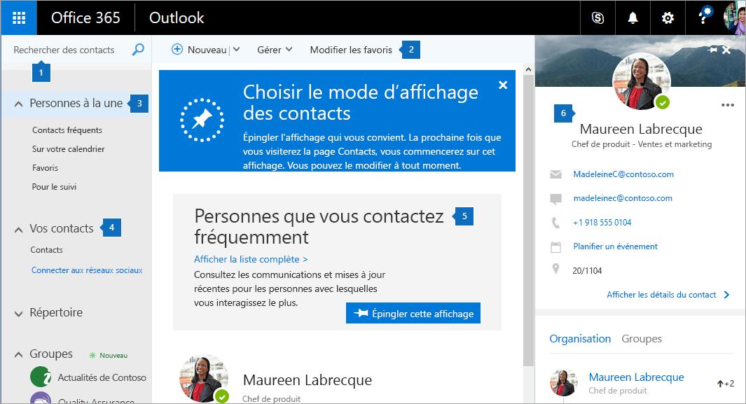 Capture d'écran de la page Contacts.