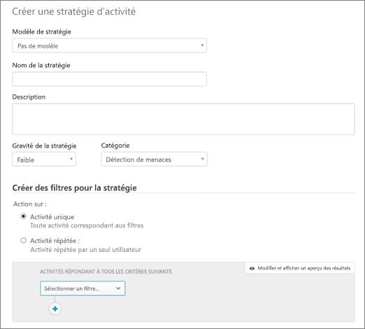 Vous pouvez créer des stratégies de l'activité avec Office 365 Cloud application sécurité.