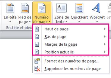 Sélectionner l'emplacement des numéros de page