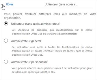 Développez la section Rôles si vous voulez attribuer des droits d'administrateur à l'utilisateur.