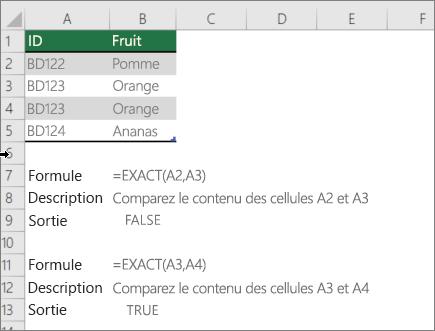 Exemple d'utilisation de la fonction EXACT pour comparer une cellule à une autre