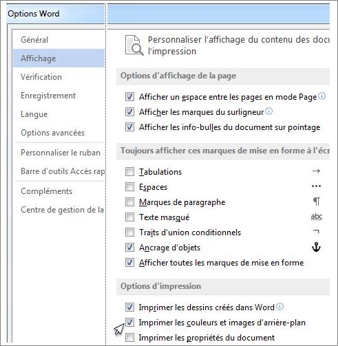 Case à cocher Imprimer les couleurs et images d'arrière-plan dans la boîte de dialogue Options de Word