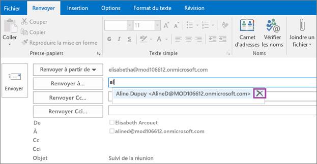 La capture d'écran affiche l'option Envoyer à nouveau pour un courrier électronique. Dans le champ Renvoyer à, la fonctionnalité de saisie semi-automatique fournit l'adresse de courrier du destinataire, sur la base des premières lettres saisies du nom de celui-ci.