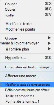 Excel 365-menu modifier le texte de remplacement pour les formes