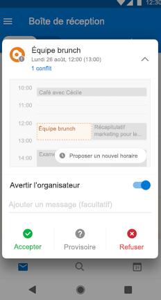 Événement de calendrier d'équipe brunch avec le bouton proposer un nouvel horaire