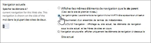 Section navigation actuelle avec la navigation gérée sélectionnée