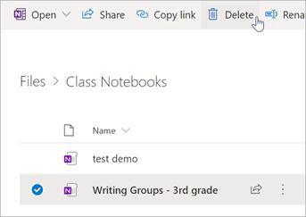 Sélectionnez le bloc-notes OneNote pour la classe que vous voulez supprimer, puis sélectionnez Supprimer.
