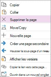 Option de suppression de page mise en évidence dans le menu contextuel de page dans OneNote pour Windows 10