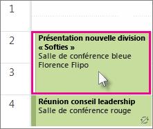 Double-cliquer sur l'occurrence de la réunion