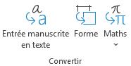 L'entrée manuscrite en texte et marques manuscrites aux boutons de conversion de forme sous l'onglet dessiner