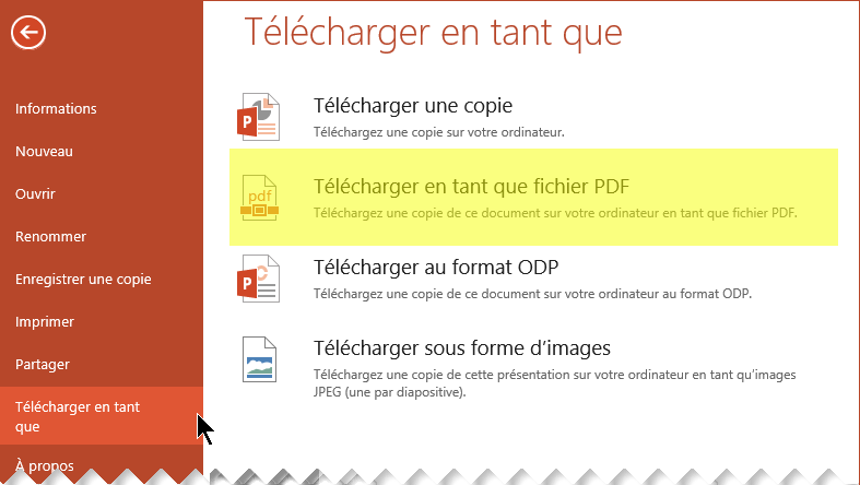 Sélectionnez Fichier > Télécharger en tant que > Télécharger en tant que PDF