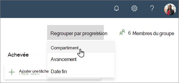 Liste déroulante de regroupement par progression dans le planificateur, avec le compartiment en tant que sélection