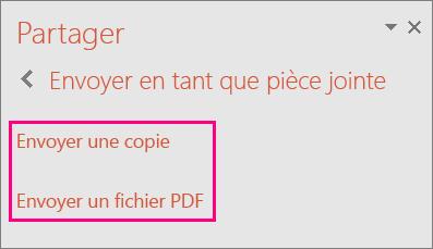 Affiche le lien Envoyer un fichier PDF dans PowerPoint2016