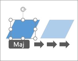 Déplacement d'une forme d'un pixel à la fois