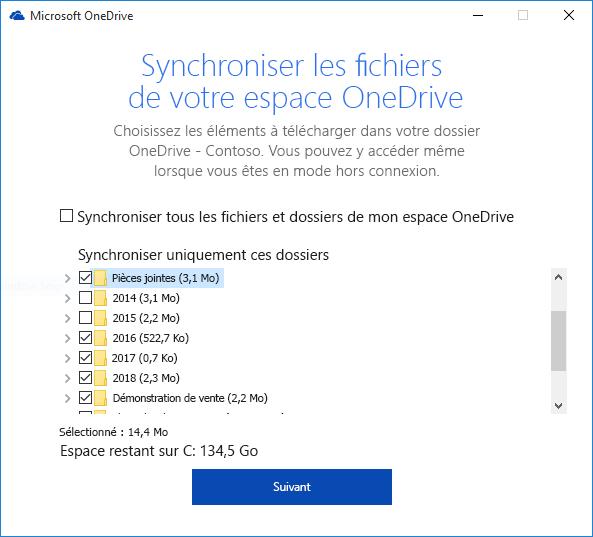 Synchronisation sélective des dossiers OneDrive Entreprise