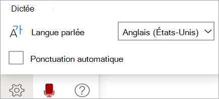 Affiche la barre d'outils dictée