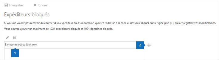Capture d'écran de la page des Expéditeurs bloqués.