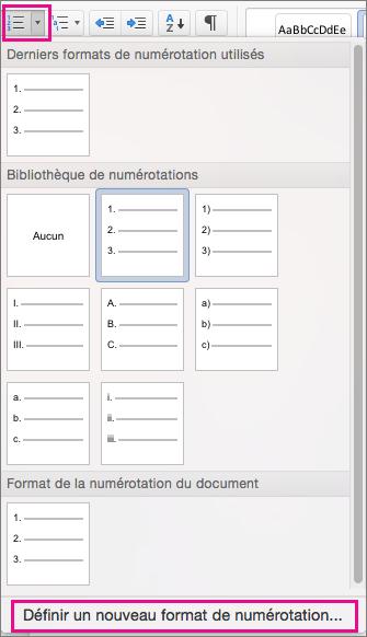 Dans l'onglet Accueil, l'icône Numérotation et l'option Définir un nouveau format de numérotation sont mises en évidence.