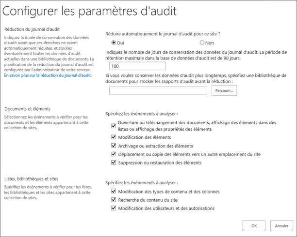 Configurer les paramètres d'Audit dans la boîte de dialogue Paramètres du Site