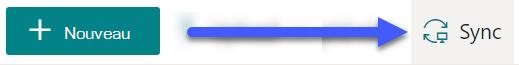 Dans les bibliothèques de documents SharePoint, le bouton synchroniser est disponible en haut de la page.
