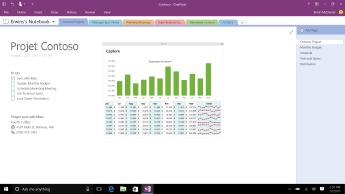 Bloc-notes OneNote avec une page Projet Contoso affichant une liste de tâches et une vue d'ensemble d'un histogramme des dépenses mensuelles.