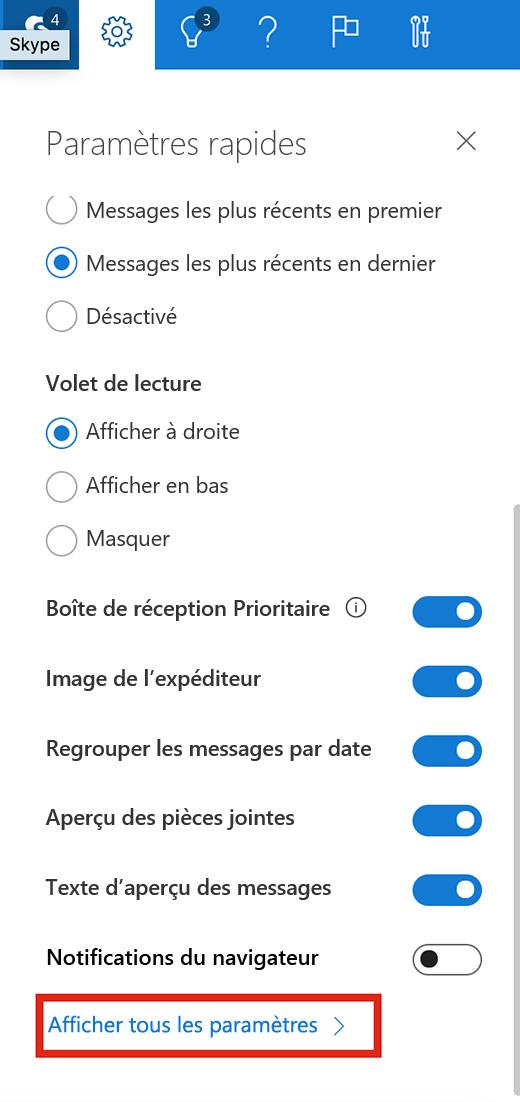 Capture d'écran illustrant l'option Afficher tous les paramètres