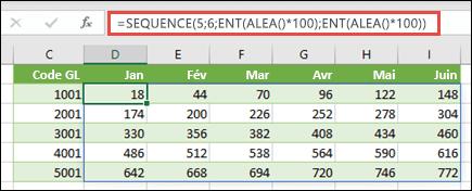 Exemple de fonction SEQUENCE imbriquée avec ENT et ALEA pour créer un échantillon de jeu de données