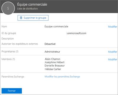 Capture d'écran: Ajouter un contact à une liste de distribution