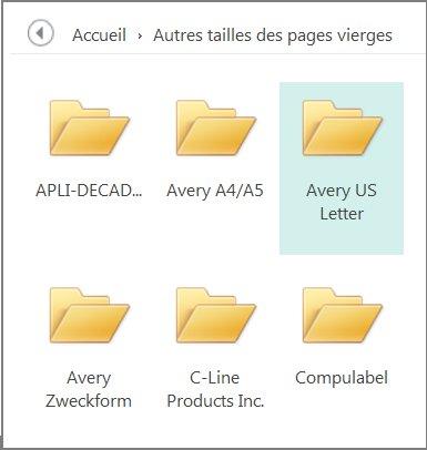 Modèles de cartes postales pour fabricants spécifiques, comme Avery.