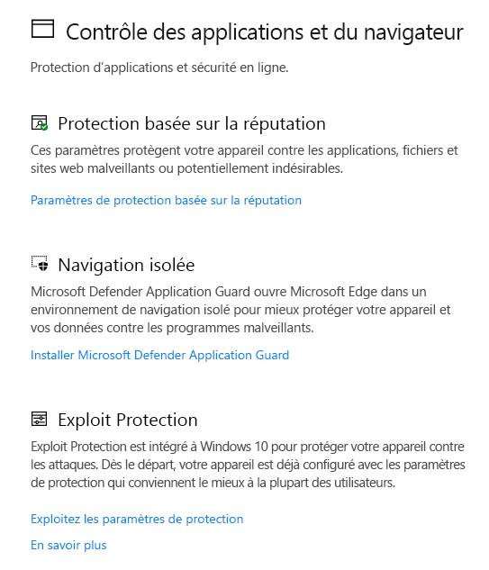 Contrôle Applications et navigateur dans Sécurité Windows