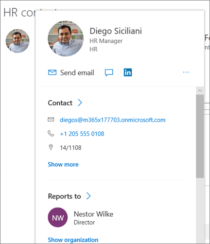 Composant WebPart personnes dans l'exemple de site concentrateur moderne dans SharePoint Online