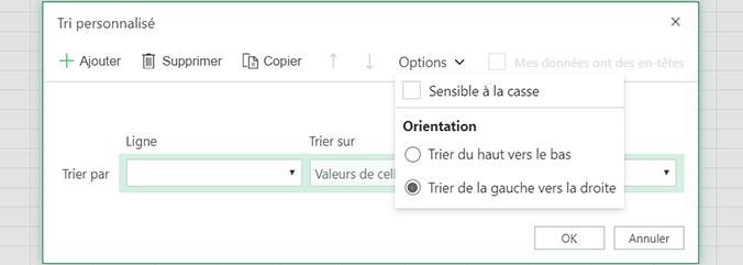 Tri personnalisé: ouvrez le menu Options et sélectionnez trier de gauche à droite