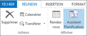 Bouton Assistant Planification dans Outlook 2013
